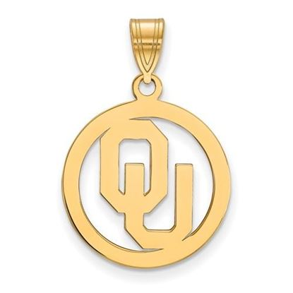 Picture of University of Oklahoma Sooners Sterling Silver Gold Plated Small Circle Pendant