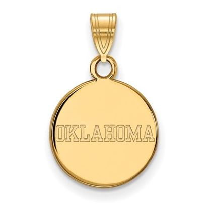Picture of University of Oklahoma Sooners Sterling Silver Gold Plated Small Disc Pendant