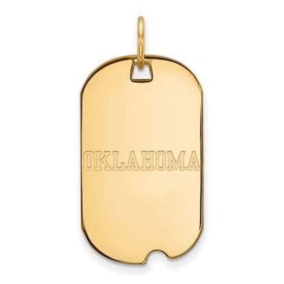 Picture of University of Oklahoma Sooners Sterling Silver Gold Plated Small Dog Tag