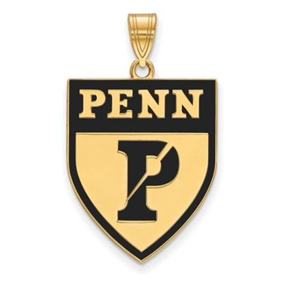Picture of University of Pennsylvania Quakers Sterling Silver Gold Plated Extra Large Enameled Pendant