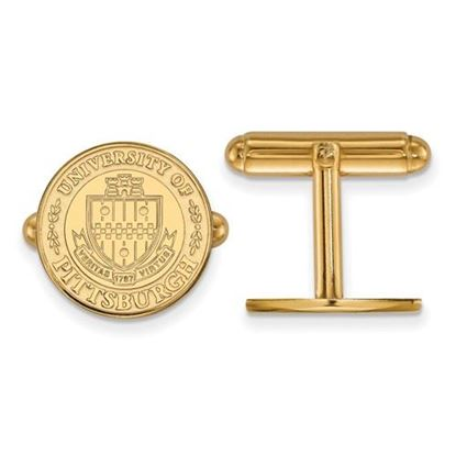 Picture of University of Pittsburgh Panthers Sterling Silver Gold Plated Crest Cuff Links