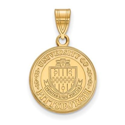 Picture of University of Pittsburgh Panthers Sterling Silver Gold Plated Medium Crest Pendant