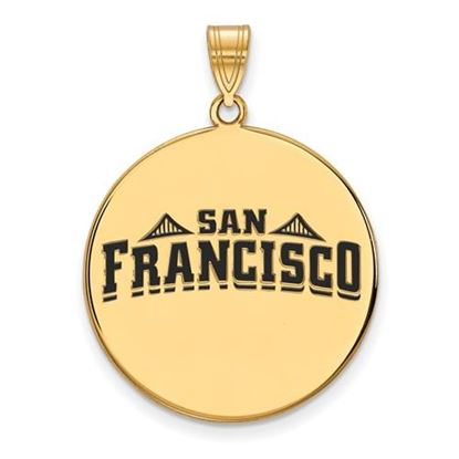 Picture of University of San Francisco Dons Sterling Silver Gold Plated Extra Large Enameled Disc Pendant