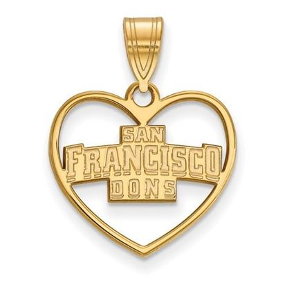 Picture of University of San Francisco Dons Sterling Silver Gold Plated Heart Pendant