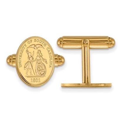 Picture of University of South Carolina Gamecocks Sterling Silver Gold Plated Crest Cuff Links