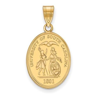 Picture of University of South Carolina Gamecocks Sterling Silver Gold Plated Large Crest Pendant