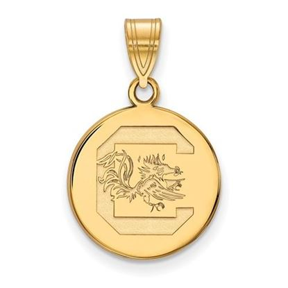 Picture of University of South Carolina Gamecocks Sterling Silver Gold Plated Medium Disc Pendant