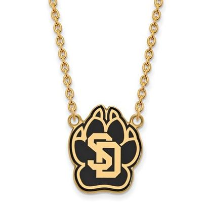 Picture of University of South Dakota Coyotes Sterling Silver Gold Plated Large Enameled Necklace