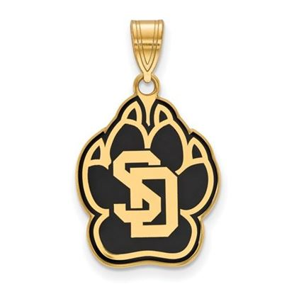 Picture of University of South Dakota Coyotes Sterling Silver Gold Plated Large Enameled Pendant