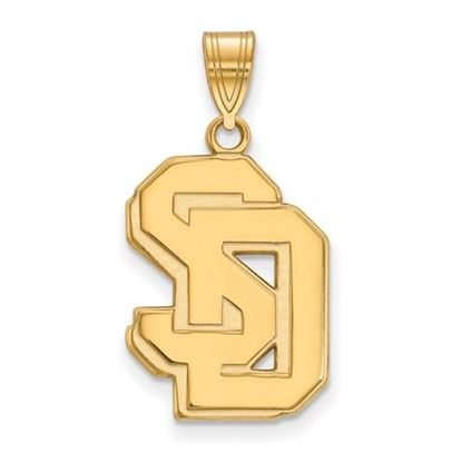 Picture of University of South Dakota Coyotes Sterling Silver Gold Plated Large Pendant