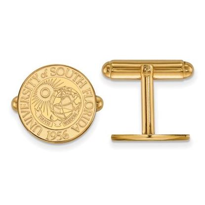 Picture of University of South Florida Bulls Sterling Silver Gold Plated Crest Cuff Links