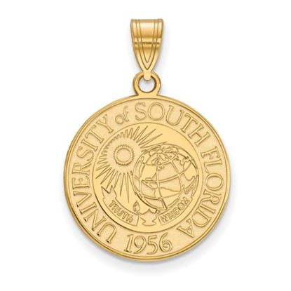 Picture of University of South Florida Bulls Sterling Silver Gold Plated Large Crest Pendant