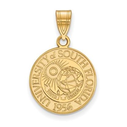 Picture of University of South Florida Bulls Sterling Silver Gold Plated Medium Crest Pendant