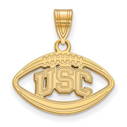 Picture of University of Southern California Sterling Silver Gold Plated Football Pendant