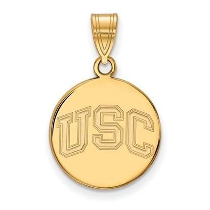 Picture of University of Southern California Trojans Sterling Silver Gold Plated Medium Disc Pendant