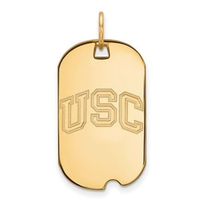 Picture of University of Southern California Trojans Sterling Silver Gold Plated Small Dog Tag