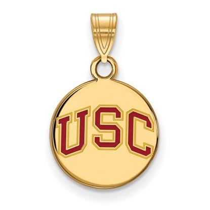 Picture of University of Southern California Trojans Sterling Silver Gold Plated Small Enameled Disc Pendant