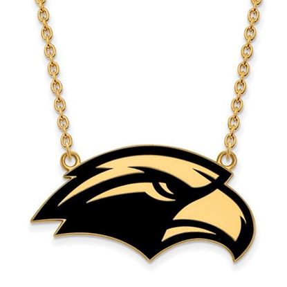 Picture of University of Southern Mississippi Golden Eagles Sterling Silver Gold Plated Large Enameled Necklace