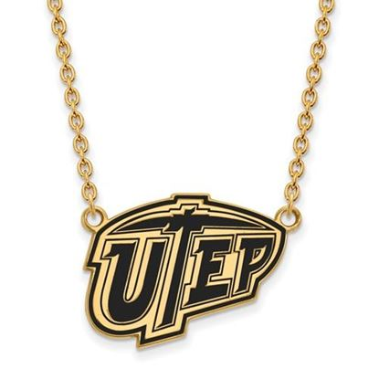 Picture of University of Texas at El Paso Miners Sterling Silver Gold Plated Large Enameled Necklace