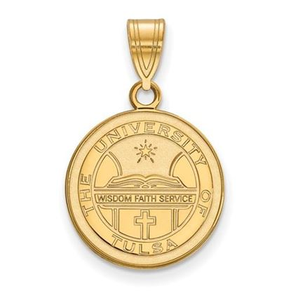 Picture of University of Tulsa Golden Hurricanes Sterling Silver Gold Plated Medium Crest Pendant