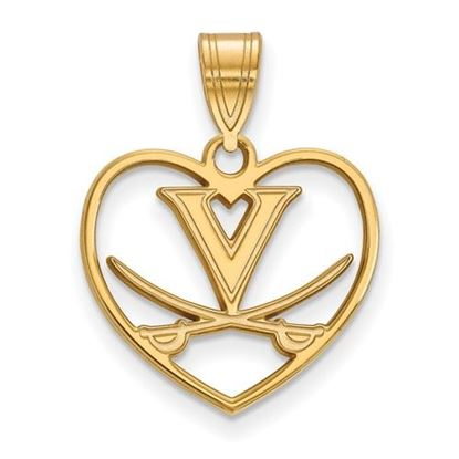 Picture of University of Virginia Cavaliers Sterling Silver Gold Plated Heart Pendant