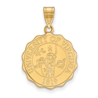 Picture of University of Virginia Cavaliers Sterling Silver Gold Plated Large Crest Pendant