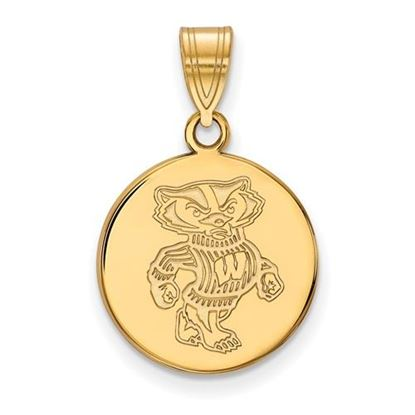 Picture of University of Wisconsin Badgers Sterling Silver Gold Plated Medium Disc Pendant