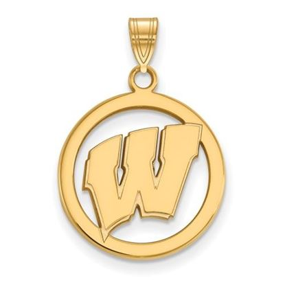 Picture of University of Wisconsin Badgers Sterling Silver Gold Plated Small Circle Pendant