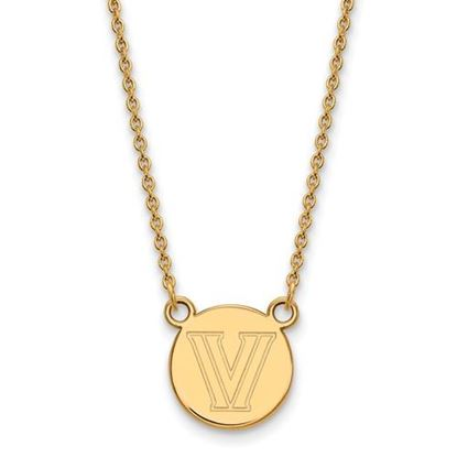 Picture of Villanova University Wildcats Sterling Silver Gold Plated Small Disc Necklace