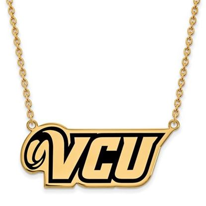 Picture of Virginia Commonwealth University Rams Sterling Silver Gold Plated Large Enameled Necklace
