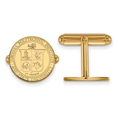 Picture of Virginia Tech Hokies Sterling Silver Gold Plated Crest Cuff Links