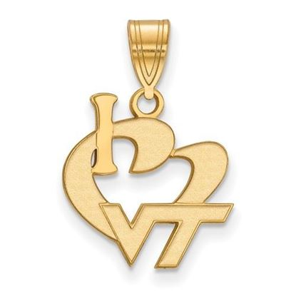 Picture of Virginia Tech Hokies Sterling Silver Gold Plated Large I Love Logo Pendant