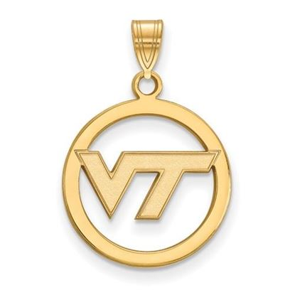 Picture of Virginia Tech Hokies Sterling Silver Gold Plated Small Circle Pendant