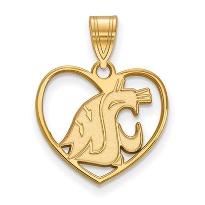 Picture of Washington State University Cougars Sterling Silver Gold Plated Heart Pendant