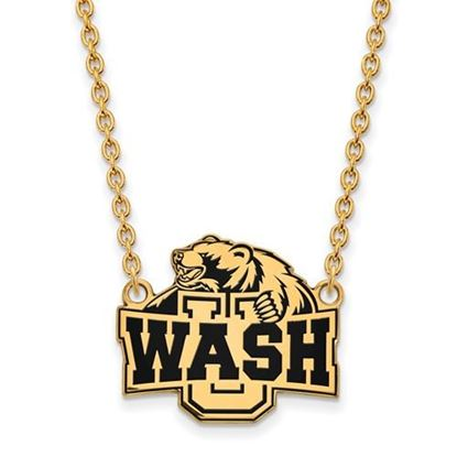 Picture of Washington University St. Louis Bears Bears Sterling Silver Gold Plated Large Enameled Necklace