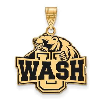 Picture of Washington University St. Louis Bears Bears Sterling Silver Gold Plated Large Enameled Pendant