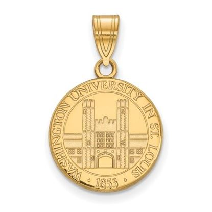 Picture of Washington University St. Louis Bears Bears Sterling Silver Gold Plated Medium Crest Pendant