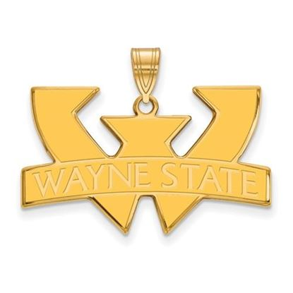 Picture of Wayne State University Warriors Sterling Silver Gold Plated Large Enameled Pendant