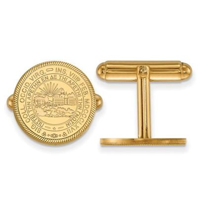 Picture of West Virginia University Mountaineers Sterling Silver Gold Plated Crest Cuff Links