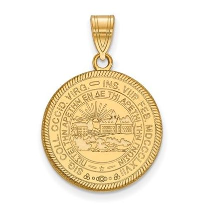 Picture of West Virginia University Mountaineers Sterling Silver Gold Plated Large Crest Pendant