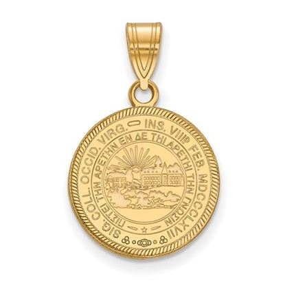 Picture of West Virginia University Mountaineers Sterling Silver Gold Plated Medium Crest Pendant