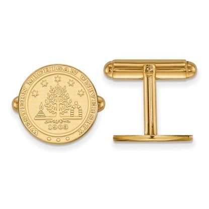 Picture of Western Michigan University Broncos Sterling Silver Gold Plated Crest Cuff Links