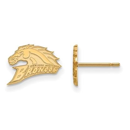 Picture of Western Michigan University Broncos Sterling Silver Gold Plated Extra Small Post Earrings