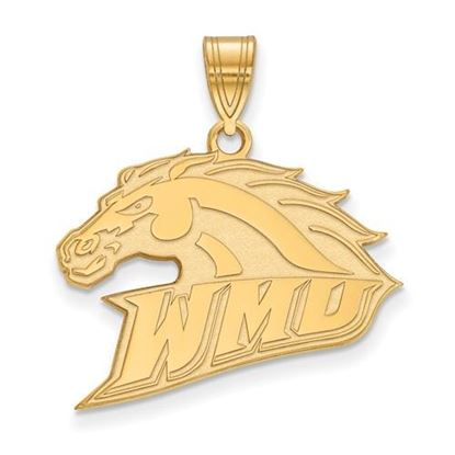 Picture of Western Michigan University Broncos Sterling Silver Gold Plated Large Pendant