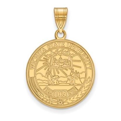 Picture of Wichita State University Shockers Sterling Silver Gold Plated Large Crest Pendant