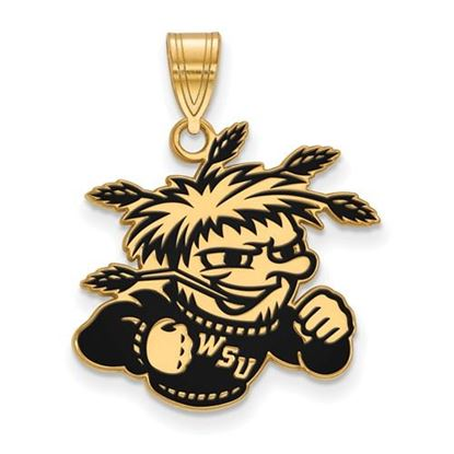 Picture of Wichita State University Shockers Sterling Silver Gold Plated Large Enameled Pendant