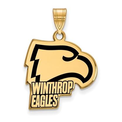 Picture of Winthrop University Eagles Sterling Silver Gold Plated Large Enameled Pendant