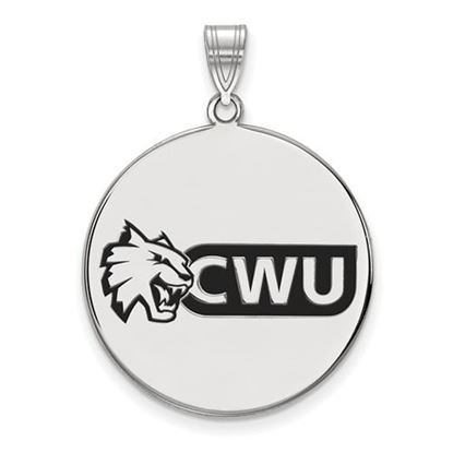 Picture of Central Washington University Wildcats Sterling Silver Extra Large Enameled Disc Pendant