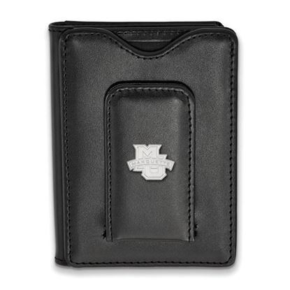 Picture of Marquette University Golden Eagles Sterling Silver Black Leather Wallet