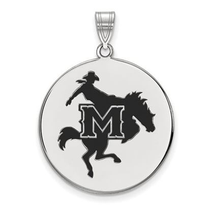 Picture of McNeese State University Cowboys Sterling Silver Extra Large Enameled Disc Pendant